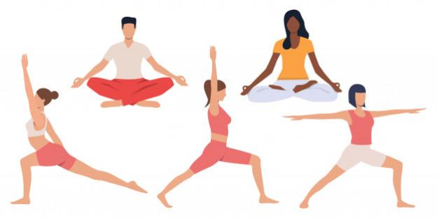 Set of people practicing yoga Free Vector
